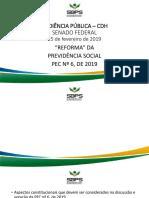 """""""REFORMA"""" DA PREVIDÊNCIA SOCIAL PEC Nº 6, DE 2019"""