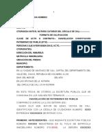 Modelo Cancelacion Patrimonio de Flia 2016 Mayor Edad