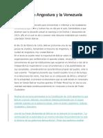 Discurso de Angostura y La Venezuela Actual