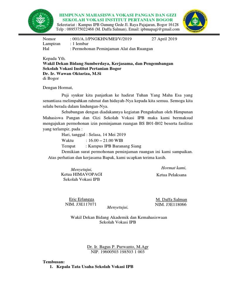 Surat Peminjaman Alat Pengukuhan