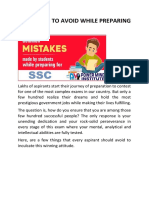Mistakes to Avoid While Preparing for Ssc