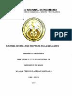 Sistema de Relleno en Pasta en La Mina Ares