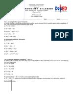 First Grading Exam Mathematics 8