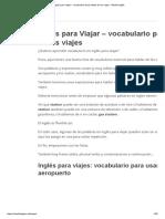Inglés Para Viajar –Vocabulario Para Hablar de Los Viajes
