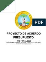 PROYECTO DE ACUERDO DE PRESUSPUESTO AÑO FISCAL 2020
