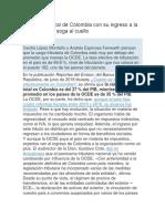 Articulo de Revista Panorama Fiscal de Colombia Con Su Ingreso a La OCDE