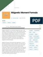 Magnetic Moment Formula