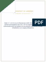 Dahir n° 1-13-111 du 15 Mouharram 1435 (19 novembre 2013) portant promulgation de la loi n° 67-12 organisant les rapports contractuels entre les bailleurs et les preneurs