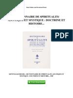 Dictionnaire de Spiritualite Ascetique Et Mystique Doctrine Et Histoire