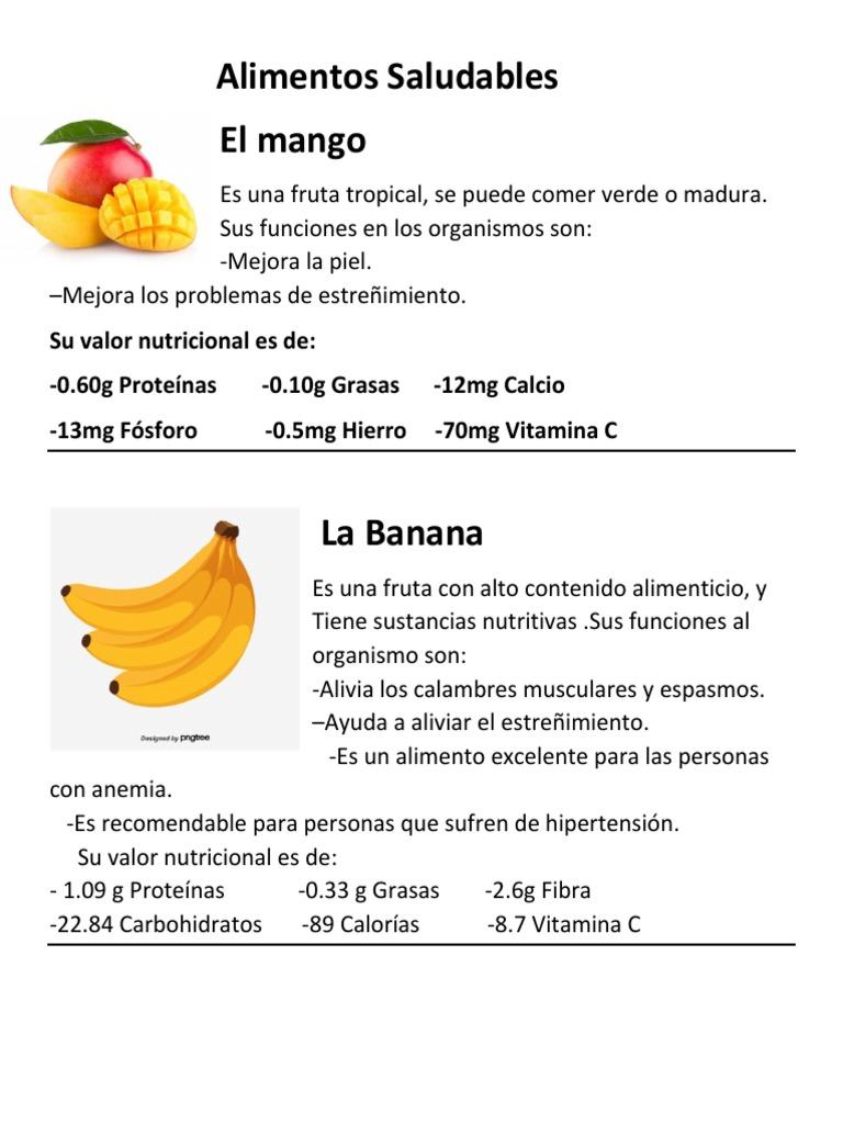 valor nutricional de los alimentos saludables