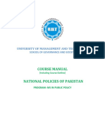 Course Outline - National Policies of Pakistan (Oct. 2018)