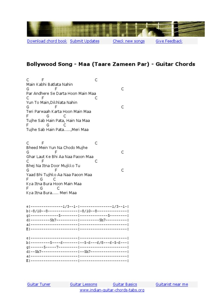 Hindi Song Maa Taare Zameen Par Guitar Chords 81532879 theory of indian ragas. hindi song maa taare zameen par