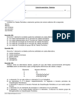 Lista de Química p1 1ª Série 2 Bimestre