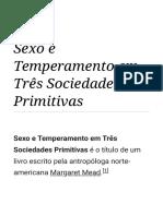 Sexo e Temperamento Em Três Sociedades Primitivas – Wikipédia, A Enciclopédia Livre