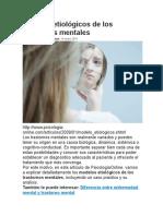 Modelos Etiológicos de Los Trastornos Mentales