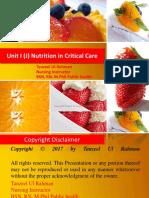 Unit 1 (J) Nutrition in Critical Care