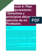 """Evidencia 4-Plan de Mejoramiento """"Derechos y Principios Éticos en Ejercios de Mi Profesión."""