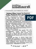 Manila Standard, Oct. 17, 2019, Solon files reso to honor Yulo Petecio for gold feasts.pdf