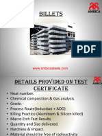 Details Provided on Test Certificate Of Ambica Steels
