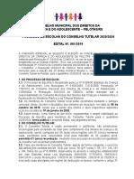 Edital 01 de 2019 - COMDICA Eleição CT