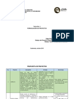 1a Tarea de Formulac de Proy, Propuesta de Proyectos 3 Oct
