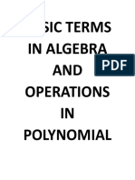 Basic Terms in Algebra and Operations in Polynomial