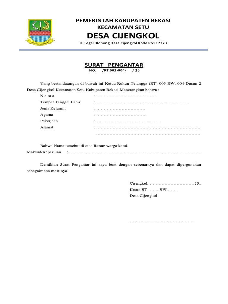 Kop Surat Pengantar Rt Docx