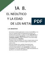Tema 8 El Neolítico y La Edad de Los Metales
