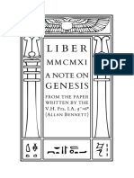 Liber MMCMXI - A Note on Genesis