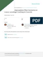 Influence of Polypropylene Fiber Geometry on Plastic Shrinkage Cracking in Concrete