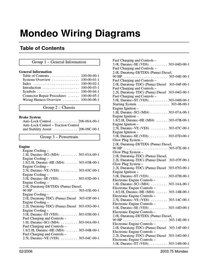 mondeo wiring diagram ford mondeo  03 ewd taiwan pdf manufactured goods vehicle parts  ford mondeo  03 ewd taiwan pdf
