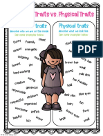 Character Traits Physical Traits Posters Freebie