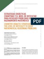 estrategia didácticas cognitivas y el nivel de dificultad para resolver problemas de razonamiento