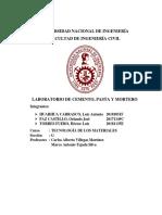 Informe N2 Laboratorio de Cemento, Pasta y Mortero