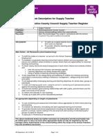 Supply Teacher Job Description Person Specification