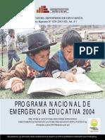 Programación Nacional de Emergencia Educativa 2004