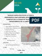 Riesgoriesgos Hidrológicos en La Cuenca Hidrográfica San Idelfonso Ante El Cambio Climático