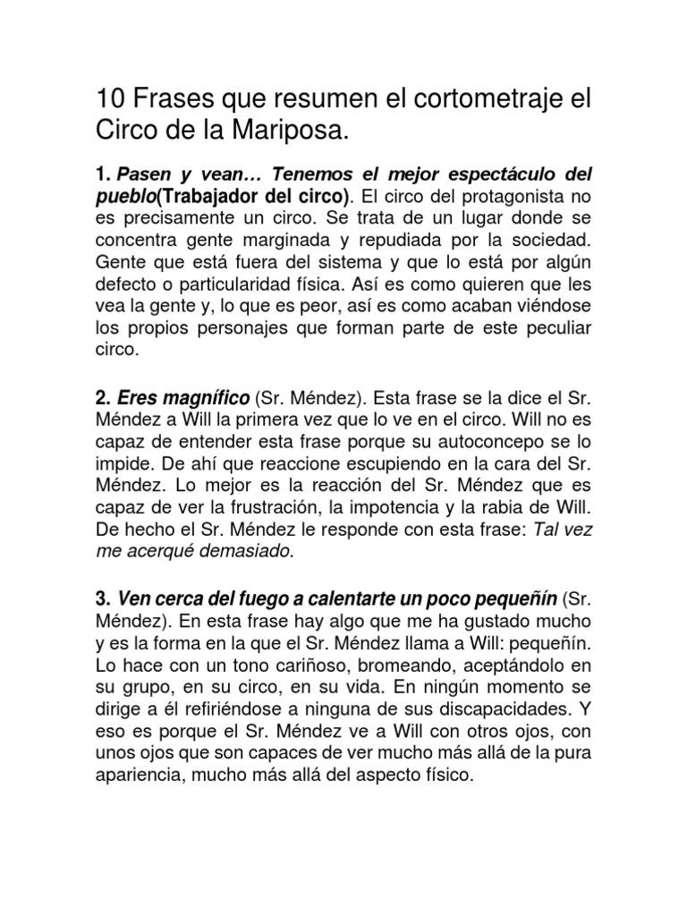 10 Frases De El Circo De La Mariposa