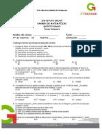 Examen de Matemáticas Tercer Bimestre 2013-2014 Quinto Grado