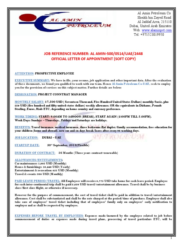 Al Offer Letter United Arab Emirates Employment Free 30 Day