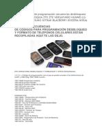 Claves Codigos de Programacion Secuencias Desbloquear Formatear Orinoquia Zte Zte Vergatario Huawei Lg Motorola Sansung Gitran Blacberry Kiozera Nokia Gsm y Cdma