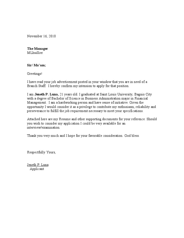 example of application letter for palawan pawnshop