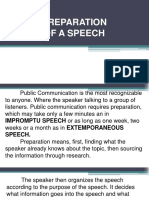 Preparation of Speech