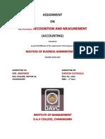 Revenue Recognition and Measurement