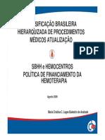 HEMOTERAPIA SBHH - Classificação Brasileira Procedimentos