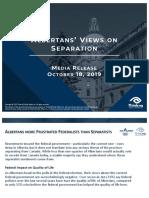 Albertans' Views on Separation October 2019