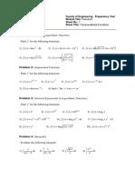 Sheet 7 Transcendental Functions