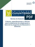 Normas para la presentación de anteproyecto de Investigación (M.Admon-Finanzas)