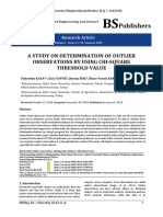A Study on Determination of Outlier Observations by Using Chi-Square Threshold Value[#470196]-588323