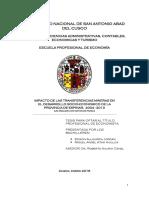 IMPACTO DE LAS TRANSFERENCIAS MINERAS EN EL DESARROLLO SOCIO-ECONOMICO DE LA PROVINCIA DE ESPINAR,  2004 - 2013 [UN ANALISIS CON DATOS DE PANEL]